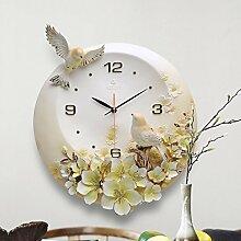 Runde Klassisch Clock Schlafzimmer Leise Einfache uhr Kreativ Stereo Dekoration Quarz Wanduhr -orange 41.5x39cm(16x15inch)