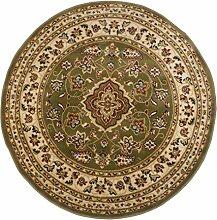 Runde Klassischer Orient Perser Design Teppich, Blumenmuster, traditionell, rund, grün, 133 x 133 cm