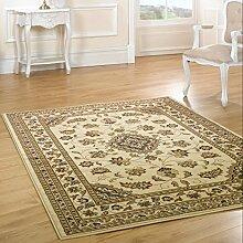 Runde Klassischer Orient Perser Design Teppich, Blumenmuster, traditionell, rund, Beige, 133 x 133 cm