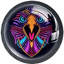 Runde Knäufe aus ABS-Glas mit Adler-Gesicht,
