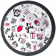 Runde Knäufe mit Erdbeermotiv, Kristallglas,
