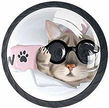 Runde Knäufe mit Katzenmotiv, aus Kristallglas,