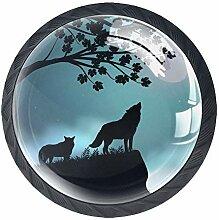 Runde Knäufe mit Wölfen, Kristallglas, Griffe