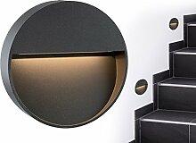 Runde LED Wand-Leuchte & Treppen-Licht MORAVA für den Wandaufbau (Aufputz) IP54 innen & außen verwendbar mit 2W in warm-weiß