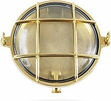 Runde maritime Schiffslampe aus poliertem Messing, ø 155 mm, IP 54, für E14 Sockel (klares Glas)
