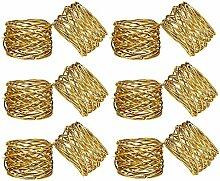 Runde Masche Gold Serviettenringe 12er Set für