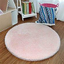 Runde Matten Thicker Computer Stuhl Kissen Hängende Korbmatten Einfache moderne Bedside Schlafzimmer Teppich Teppich (60 × 60CM) ( Farbe : Pink )