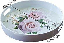 Runde Melamin Tablett,rose Muster Frühstück