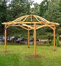 Runde Pergola aus Holz mit Bogendach. Durchmesser: 482 cm, H338 cm
