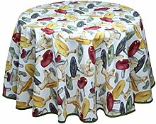 Runde Provence-Tischdecke mit Pilzen, pflegeleicht, 160 cm Durchmesser, von Provencestoffe