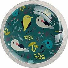 Runde Schubladenknöpfe aus Glas, Vögel, 4 Stück