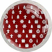 Runde Schubladenknöpfe aus Glas, weihnachtliches