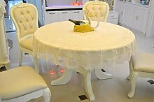Runde Tabellen-Gewebe-Tuch-Tuch-Chiffon- Spitze-runde Speisetisch-Tuch-180cm-220cm große runde Tisch-Tapete ( farbe : Gelb , größe : Diameter 220cm )
