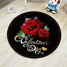 Runde Teppich für Nachttisch Wohnzimmer Sofa Hängekörbe Drehstuhl Rose Teppich Rutschfeste saugfähige schmutzabweisend Fuß/Boden Tür Matten (Color : Black, Größe : Diameter 60cm)