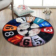 Runde Teppich für Wohnzimmer Schlafzimmer Nacht Home Stuhl Großen Bereich Teppich Wanduhr Muster Kreative Retro Stil ( Color : A , Size : 120cm )