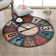 Runde Teppich für Wohnzimmer Schlafzimmer Nacht Home Stuhl Großen Bereich Teppich Wanduhr Muster Kreative Retro Stil ( Color : C , Size : 60cm )
