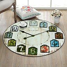 Runde Teppich für Wohnzimmer Schlafzimmer Nacht Home Stuhl Großen Bereich Teppich Wanduhr Muster Kreative Retro Stil (Color : D, Size : 60cm)