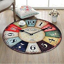 Runde Teppich für Wohnzimmer Schlafzimmer Nacht Home Stuhl Großen Bereich Teppich Wanduhr Muster Kreative Retro Stil ( Color : E , Size : 120cm )
