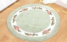 Runde Teppich Pastoral Frische Luft Rose Wohnzimmer Teppich Tür Pad Badezimmer Anti-Rutsch-Pad Breite 27,5 Zoll ( Farbe : Grün )