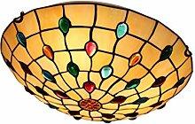 Runde Tiffany Deckenleuchte Glas Lampenschirm