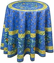 Runde Tischdecke, Baumwolle Maussane bleu mit Oliven, ca. 180 cm, von Provencestoffe