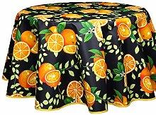 Runde Tischdecke, beschichtet, enduit, Orangen,