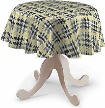 Runde Tischdecke, gelb-schwarz, Ø 135 cm, Brooklyn