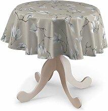 Runde Tischdecke, grau- beige, Ø 135 cm, Flowers