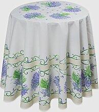 Runde Tischdecke, Lavande, Natur mit Lavendel, ca. 180 cm, 100% Baumwolle von Provencestoffe