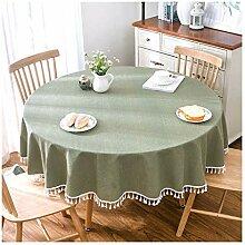 Runde Tischdecke mit Fransen - Nordic Pastoral