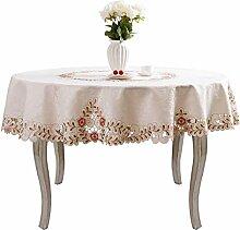 Runde Tischdecke mit rosa Blumen bestickt,