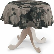 Runde Tischdecke, schwarz-beige, Ø 135 cm, Leinen