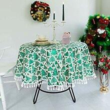 Runde Tischdecke, Weihnachtsbaumwollleinen Mit