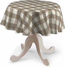 Runde Tischdecke, weiss-beige kariert, Ø 135 cm,