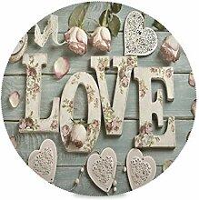 Runde Tischsets Satz von 1 Liebesherzen Rosen Holz