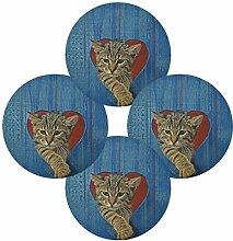 Runde Tischsets Satz von 4 Tier Katze am Strand