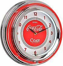 Runde Uhr, Coca-Cola Neonbeleuchtung, Coca Cola