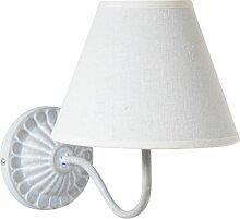 Runde Wandlampe aus grauem Metall mit Lampenschirm