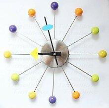 Runde Wanduhr, Holzkugel, Atom, stumm, 20 Zoll