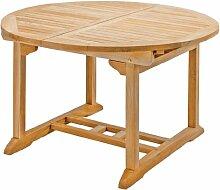 Runder Ausziehtisch Rondo aus Teakholz, 120-170cm ✓ Wetterfest ✓ Nachhaltig ✓ Robust | Holztisch als großer Küchen-Tisch, Balkon-Tisch, Garten-Tisch | Ausziehbarer Teak-Tisch, Esstisch für draußen | Verlängerbares Garten-Möbel aus Massiv-Holz