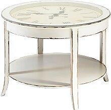 Runder Couchtisch aus Glas und Holz mit Uhr D72,