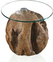 Runder Couchtisch aus Teak Wurzelholz Glas