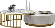 Runder Couchtisch, Tischplatte aus Marmor und