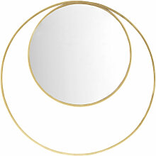 Runder Doppel-Spiegel mit Rahmen aus goldfarbenem