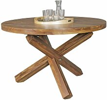 Runder Esstisch aus Sheesham Massivholz Landhaus
