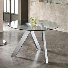 Runder Esstisch mit Glasplatte  120 cm breit