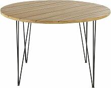 Runder Gartentisch aus massivem Akazienholz und