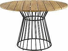 Runder Gartentisch aus massivem Teakholz für 4