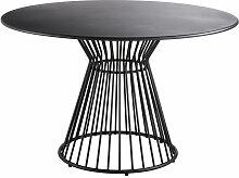 Runder Gartentisch aus mattschwarzem Metall für 4