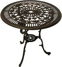 Runder Gartentisch in Bronzefarben Aluminium